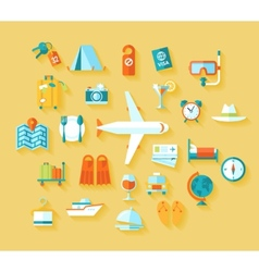 Flat design style modern icons set of traveling on vector image vector image