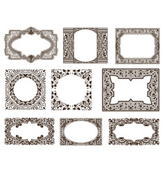 Frames set for cards with floral details vector