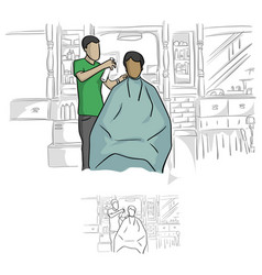 Front view of hairdresser using spray on hair vector