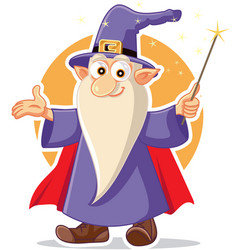 funny cartoon wizard magician character vector image