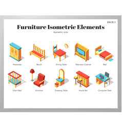furniture elements isometric pack vector image
