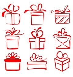 gift boxes icon set sketch vector image