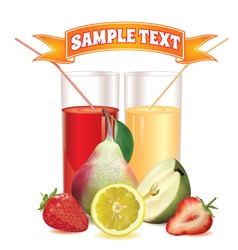 Glasses with juice lemon pear and strawberry vector