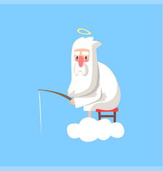 God character in action lord sitting on cloud vector