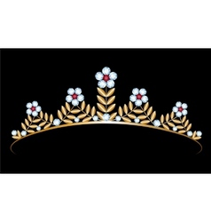 gold tiara with diamonds vector image