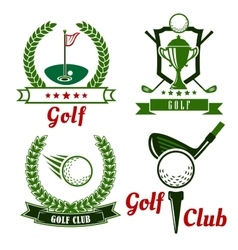 Golf game icons emblems and symbols vector