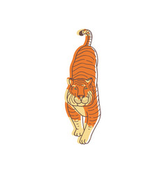 hand drawn design of walking tiger front vector image