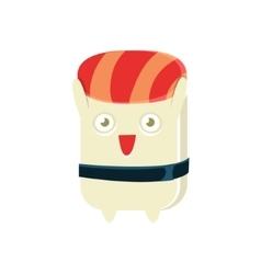 Happy Funny Maki Sushi Character vector