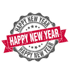 Happy new year stamp sign seal vector