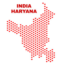 Haryana state map - mosaic of lovely hearts vector