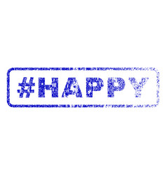 Hashtag happy rubber stamp vector
