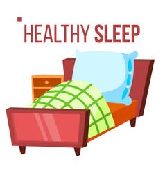 healthy sleep comfortable bed night room vector image