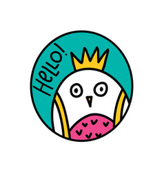 hello lettering and owl doodle vector image