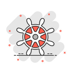 Helm wheel icon in comic style navigate steer vector