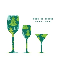 Holiday christmas trees three wine glasses vector