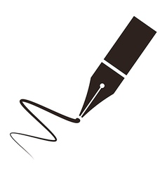 Icon of a fountain pen and signature vector