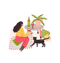 Independent girl drink wine alone sitting on floor vector