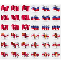 Isle of man Russia Sark Guernsey Set of 36 flags vector image