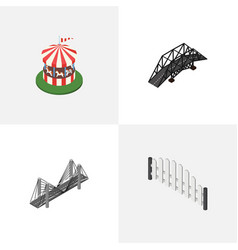 isometric city set of carousel barricade bridge vector image