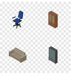 isometric furniture set of office cabinet couch vector image