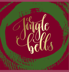 jingle bells - gold hand lettering on green and vector image