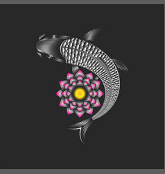 koi carp and lotus flower creative japanese fish vector image