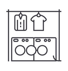 laundrywashhouse line icon sign vector image