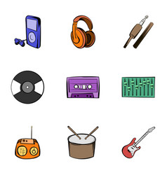 listening music icons set cartoon style vector image