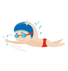 Little boy swimming freestyle vector