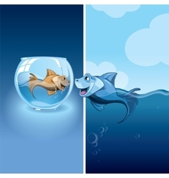little fishes vector image