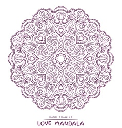 Mandala for coloring with valentines elements vector