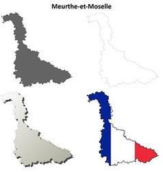 Meurthe-et-Moselle Lorraine outline map set vector