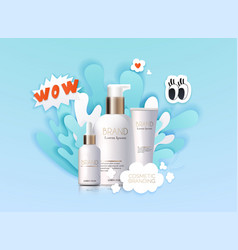 Mockup realistic 3d cosmetics products water vector