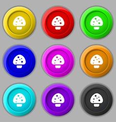 mushroom icon sign symbol on nine round colourful vector image