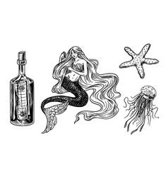 nautical mermaid and marine bottle jellyfish and vector image