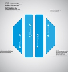 Octagon template consists of four blue parts on vector