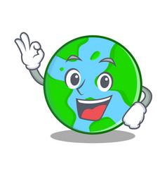 Okay world globe character cartoon vector