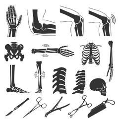 Orthopedic and spine black symbols human vector