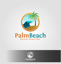 palm beach logo template vector image