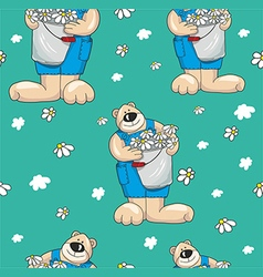 Pattern with bears on a blue background vector