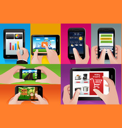 People using tablet and cell phones vector