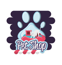 Pet shop cat with pillow vector