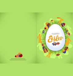 ready for print happy easter green greeting card vector image