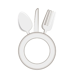 Restaurant emblem with cutlery vector