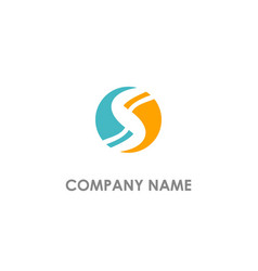 s initial circle round company logo vector image