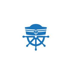 sailor hat and ship wheel for logo design vector image