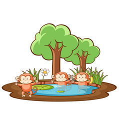 Scene with three monkeys in park vector
