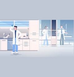 Scientist working in medical lab researchers in vector