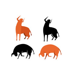 set bull icon in silhouette and flat vector image