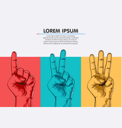 set counting one two three hand sign three vector image